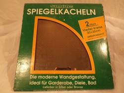 Üveg - ÚJ - 2 db  bronz színű tükörcsempe - 2 db - 30 x 30 cm - egyik sarkán pici lepattanás