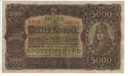 5000 korona / negyven fillér 1923 Ritka 2.