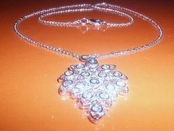 Kristály Levél mest. gyémánt ezüst - fehérarany Nyaklánc