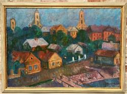 Nagy méretű 110x80cm Kántor Andor (1901 - 1990) Szentendre c. olajfestménye EREDETI GARANCIÁVAL