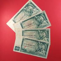 Csehszlovákia 100 korona 1961 4db NSZ