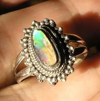 925 ezüst gyűrű 17,5/55 mm, ammolit sinjátszó kővel