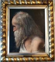 Wéber Henrik (1818-1866) Szakállas férfi portré festmény