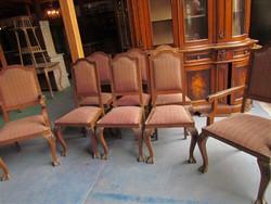 Antik chippendale asztal + 8 db szék