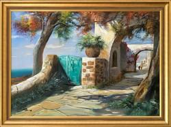 Adilov J. Alim Mediterrán falu című olaj festménye, EREDETISÉG IGAZOLÁS, VISSZAVÁSÁRLÁSI GARANCIA!