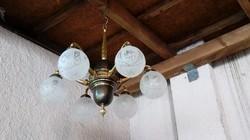 """Nagy 6ágú antik réz csillár felújítva eladó """"hosszú karos"""""""