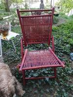 Rattan összecsukható bambusz szék, pótszék- mahagóni