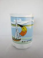 Balatoni emlék vitorlás hajós Zsolnay porcelán pohár