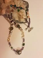 Smaragd, Rubin, Citrin , Gránát, és kristály gyöngysor. 65 cm.