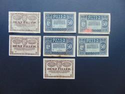 7 darab 20 - 50 fillér 1920 LOT !