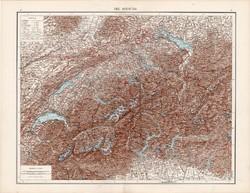 Svájc térkép 1881, német, eredeti, 41 x 53 cm, hátoldalán is térképek, Olaszország, észak, atlasz