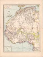 Északnyugat - Afrika, Antillák, koloniák térkép 1887, német atlasz, Kuba, Jamaica, Haiti, gyarmat