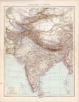 Közép - Ázsia és Kelet - India térkép 1881, német, eredeti, 41 x 53 cm, hátoldalán is térképek, Kína