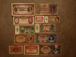 12 db történelmi bankjegy/id 8550/