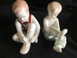 Aquncumi porcelánok -Párban-öltözködő kislány és kisfiú