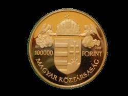 Államalapító Szent István 100 000 forintos arany pénzérme