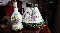 Herendi QueenVictoria porcelán lámpa, ÚJ, festett selyemernyővel