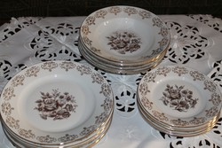 Csehszlovák MZ porcelán tányérkészlet és süteményes készlet