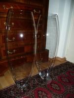 2 db nagyon magas, 67 cm ! Art Deco hibátlan üveg padlóváza párban eladó