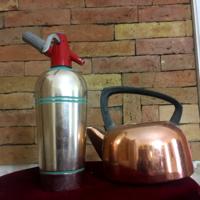 Antik amerikai szódásszifon, teáskanna,termosz