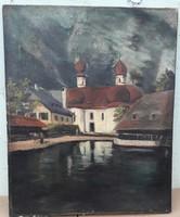 Alpesi tájat ábrázoló festmény szignózva