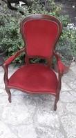 Neobarokk fotel , karosszék szép állapotban , vörös huzattal kárpitozva .