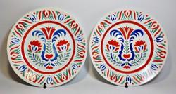 Régi Gránit   kerámia falitányér, népi tányér párban