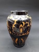 Ritka régi ólommázas korondi váza - hámozott dekorral és subamintával