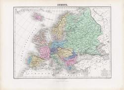 Európa térkép 1877, francia, atlasz, eredeti, 35 x 48 cm, XIX: század, régi, nagy méret