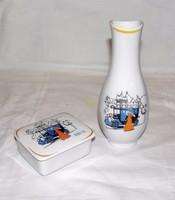 Főtaxi relikvia a Budapesti MARTA taxi 100 éves évfordulójára készített váza és porcelán doboz