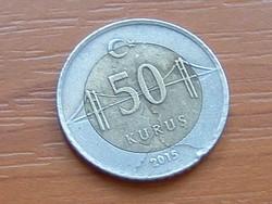 TÖRÖK 50 KURUS 2015 BOSZPORUSZ HÍD BIMETÁL