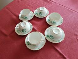 Antik zöld herendi mintás mokkás  - 6 db csésze + tányér