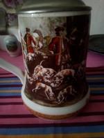 Antik  vadász jelenetes ón fedeles kaiser kupa