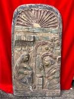 Vallási témájú sokalakos antik fatábla