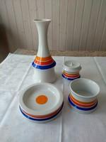 Asztali készlet a 70-es évekből, hollóházi, váza, gyertyatartó, cig. kínáló + 1