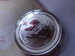 """Ausztrália""""tigris éve""""ezüst 31,1 gramm 0,999 gyönyörű érme R"""