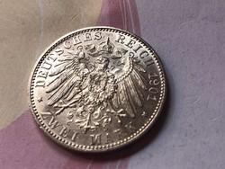 1901 Jubileumi Porosz 2 márka 11 gramm 0,900 Ritka