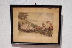 Prihoda István rézkarc,Életkép,liba pásztor gyerekek.