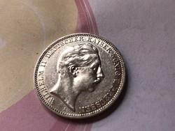 1911 Porosz ezüst 3 márka 16,67 gramm.0,900 szép darab