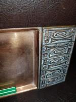 Egy remek, hosszú réz/bronz tálca, iparművész alkotása, vélhetően Mészáros...