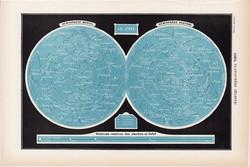 Csillagos ég térkép 1923, francia, 19 x 29 cm, lexikon, nyomat, eredeti, csillag, égbolt, csillagkép