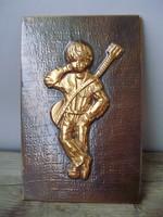 Retro,,vintage réz falikép,gitáros kisfiú