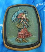 Emlék Bad Ischl -ből : kézzel festett régi kép falapon : kislány esőben