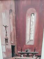 Templomi jelenet Zeller festmény olaj