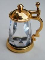 Régi Swarovski Memories aranyozott sörös kupa, korsó