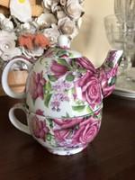 Rózsás egyszemélyes teás kanna