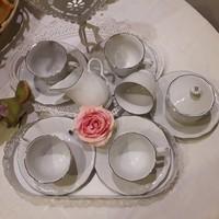 Porcelán teás készlet ezüst, fehér szinben