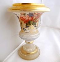 Különleges kézzel festett virág mintás üveg váza