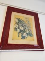 Scultéty Éva: Krizantémok, színes rézkarc, gyönyörű vörös keretben, üveg alatt