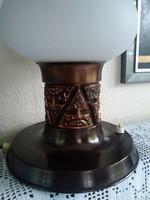 Retró réz iparművészeti lámpa, eredeti kétrétegű opál üveg burával!